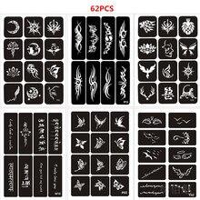 62pcs/set Henna Stencils Reusable Glitter Tattoo Sjablonen Butterfly Tiger Rose Totem Airbrush Stencil Arm Leg Pochoir Tatouage