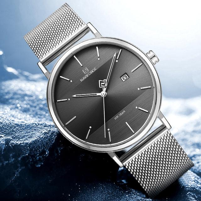 Men's Watches Top Brand NAVIFORCE Simple Quartz Watch Men Steel Mesh Waterproof Clock With Box Set For Sale Relogio Masculino