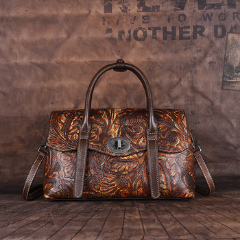 Retro Genuine First Layer Cowhide Leather Womens Handbags Hand-colored Crossbody Ladies Hand Bags Woman Shoulder Bag For Women