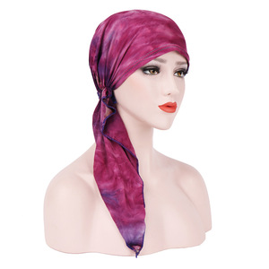 Image 2 - Helisopus Pañuelo estampado de moda para mujer, pañuelo de turbante elástico musulmán, accesorios para el cabello, para cabeza turbante, gorro para cáncer