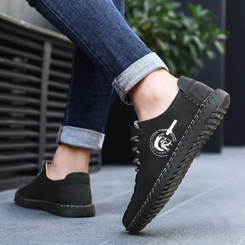 Image 5 - Men Casual Shoes Spring Autumn Large Size Loafers Fashion Leather Shoes Ancients Handtailor Footwear Youth Male Shoes with JeansMens Casual Shoes   -
