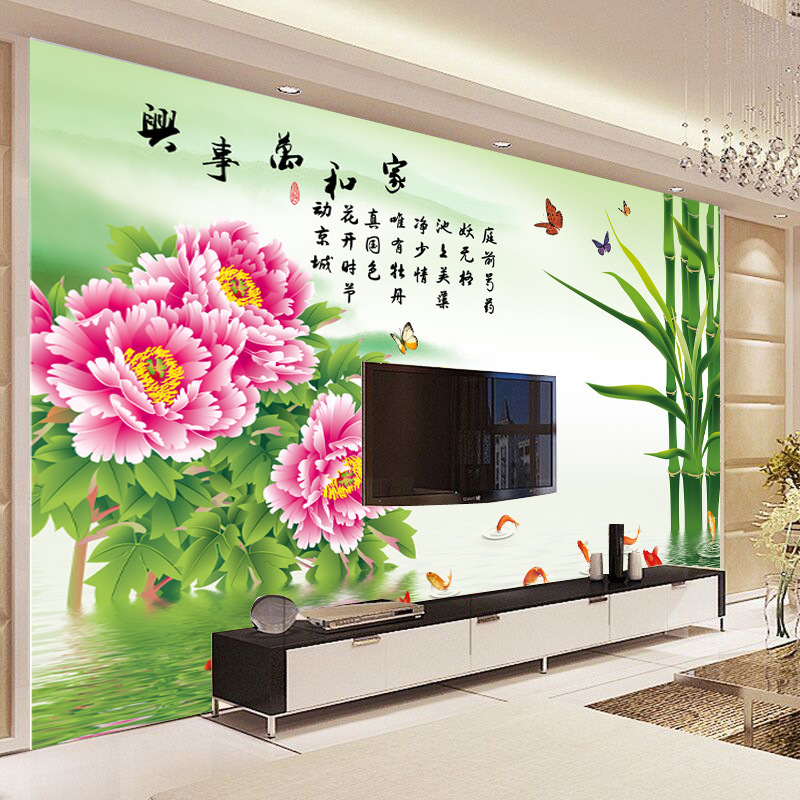 Seamless Large Mural Living Room Television Background Wall Paper Cloth 3D Non-woven Wallpaper Chinese Style Home And Everything