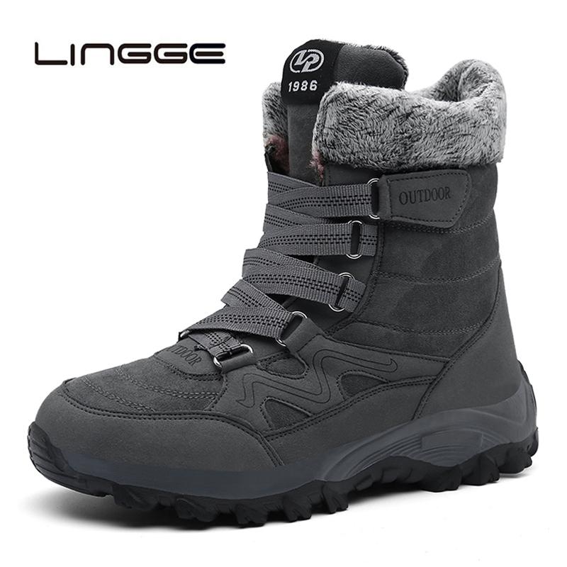 LINGGE Super Warm Mens Winter Boots Men Suede Leather Men Snow Boots Warm Plush Men Ankle Boots Mens Sneakers 39-46