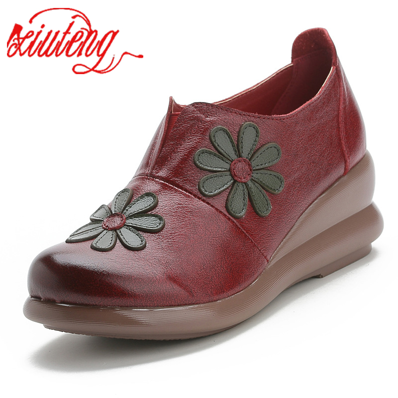Xiuteng Women Flat Shoes Soft Genuine Leather Casual 5 Cm Platform Autumn Slip-on Womens Flats For Mon Shoes For Gifts New