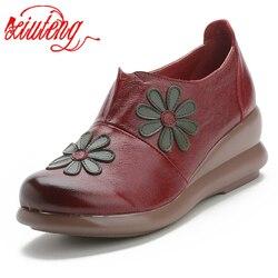 Xiuteng mulher sapatos planos de couro genuíno macio casual 5 cm plataforma outono deslizamento-em apartamentos das mulheres para mon sapatos para presentes novo