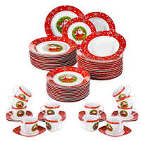 VEWEET 60-Piece Christmas Gift Porcelain Dinnerware Set with 12*Dessert Plate,Soup Plate,Dinner Plate,Cups and Saucers Set