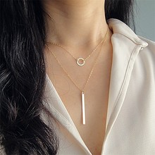Korean Silver Gold Chain Necklace Statement Layered Choker Necklace Circle Rod Pendant Necklace for Women Collares De Moda 2019(China)