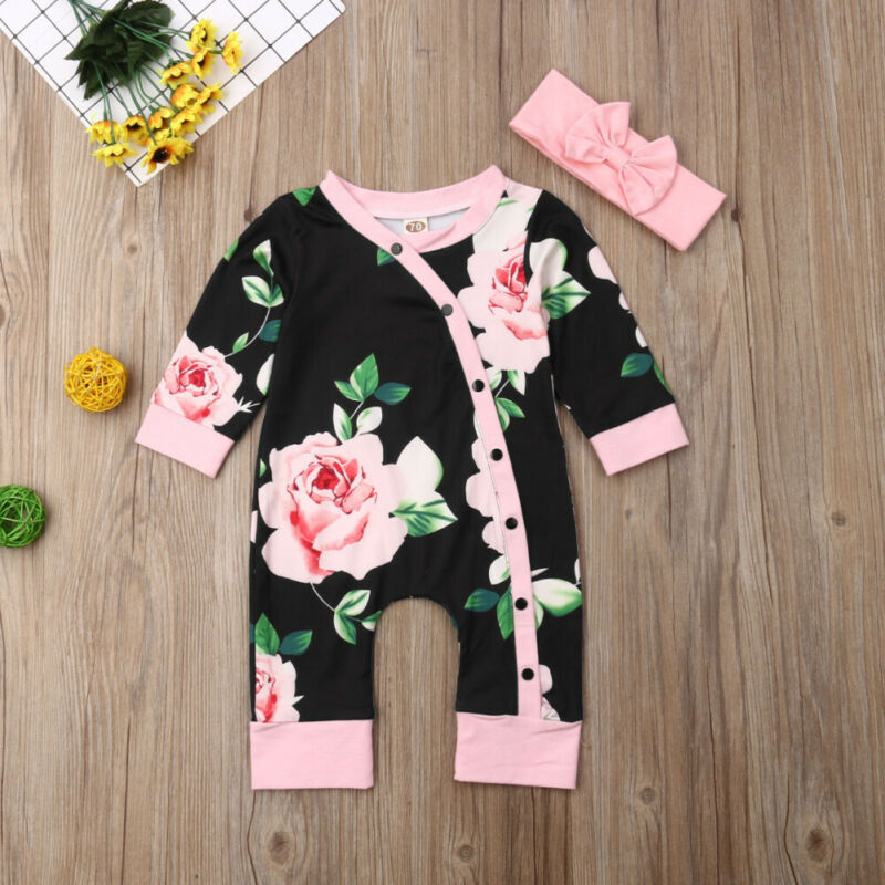 Pudcoco Brand Newborn Baby Girl Toddler Infant Outfits Floarl Romper Jumpsuit Long Sleeve Pink Headband Set Cute Casual 0-18M