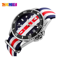 SKMEI Lovers Watches Men And Women fashion hand watch woman waterproof womens  Nylon Strap Wristwatches women 9133