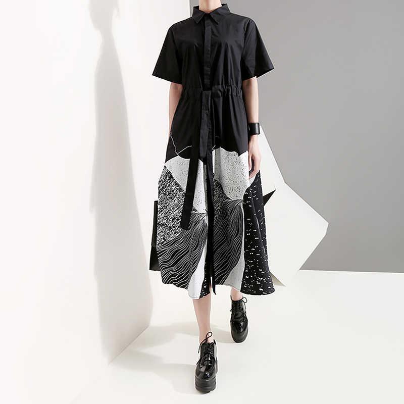 新 2020 韓国スタイルの女性の夏ブラック塗装ロングシャツドレスとサッシュプリントビッグサイズの女性カジュアルレトロドレスローブ 5128