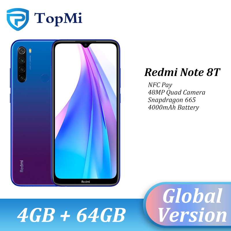 In Stock!Global Version Xiaomi Redmi Note 8T 4GB RAM 64GB ROM Smartphone 48MP Quad Camera NFC Snapdragon 665 6.3
