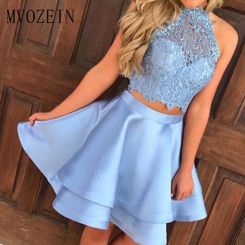 Sky Blue Two Pieces Homecoming Dress 2019 Lace High Collar Short Party Dresses Formal Graduation Dress