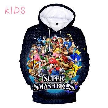 Sudaderas con capucha para niños de 3 a 14 años, Super Smash Bros. Sudadera con capucha con estampado de juego 3D para niños y niñas, ropa Harajuku de dibujos animados para adolescentes