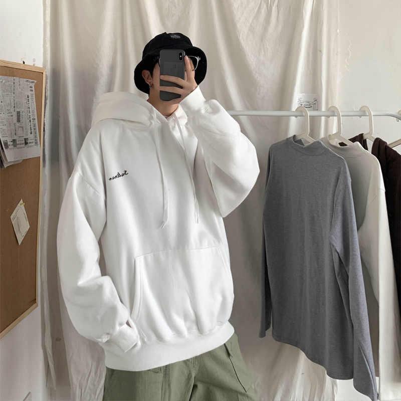 2020 봄 가을 캐주얼 양털 느슨한 힙합 대형 후디 남성용 스웨터 유니섹스 Streetwear 솔리드 남성용 후드