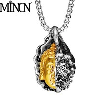 MINCN Mens Necklace Punk Style Stainless Steel Half Devil Buddha Pendant Personalized Vintage Accessories