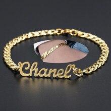Bracciale con nome personalizzato bracciale a catena cubana personalizzato da 5.5mm bracciale con nome in acciaio inossidabile placcato in oro 18 carati non sbiadire uomini donne