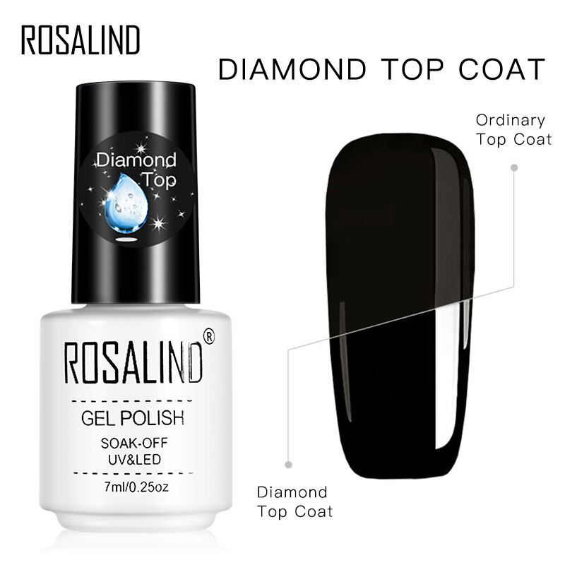 ROSALIND Gel Polish Diamond Top Coat UV Lamp Gel Soak Off Reinforce 7ml Long Lasting Nail Art Manicure Gel Lak Varnish Primer