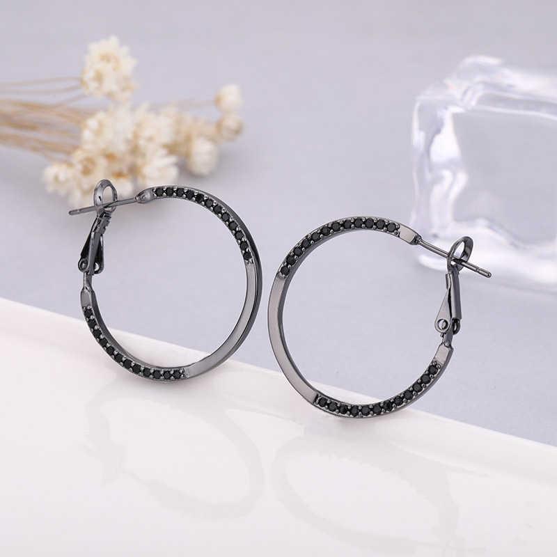 Nuevos pendientes de circonita grande de moda MAIKALE pendientes de aro de circonita cúbica de oro/plata AAA negro para mujer joyería Simple coreana regalo