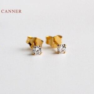 Женские серьги-пусеты CANNER из настоящего серебра 925 пробы, серьги-гвоздики с четырьмя когтями, циркониевые корейские ювелирные изделия из зо...