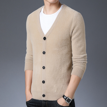 Autumn and winter men soft warm cashmere casual sweater cardigan solid color sweater cardigan long sleeve