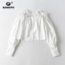 ROHOPO Women Long Sleeve Off Shoulder Solid White Black Cotton Crop Blouse #8032