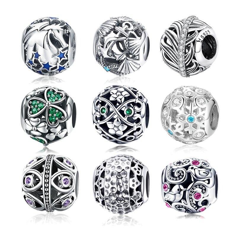 BISAER 15 Styles Design Round CZ Metal Beads for Women Silver Snake Bracelet Bangle Jewelry Making DIY Luxury Fashion Jewelry(China)