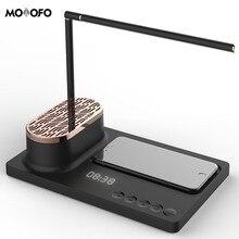 Lâmpada de mesa multi função com carregador sem fio e suporte do telefone do orador de bluetooth