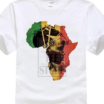 Camiseta de cuello redondo, camiseta Hipster para hombre, camiseta de África, mapa africano, Camiseta de algodón, Historia Negra, Haile Selassie I Jah 019165