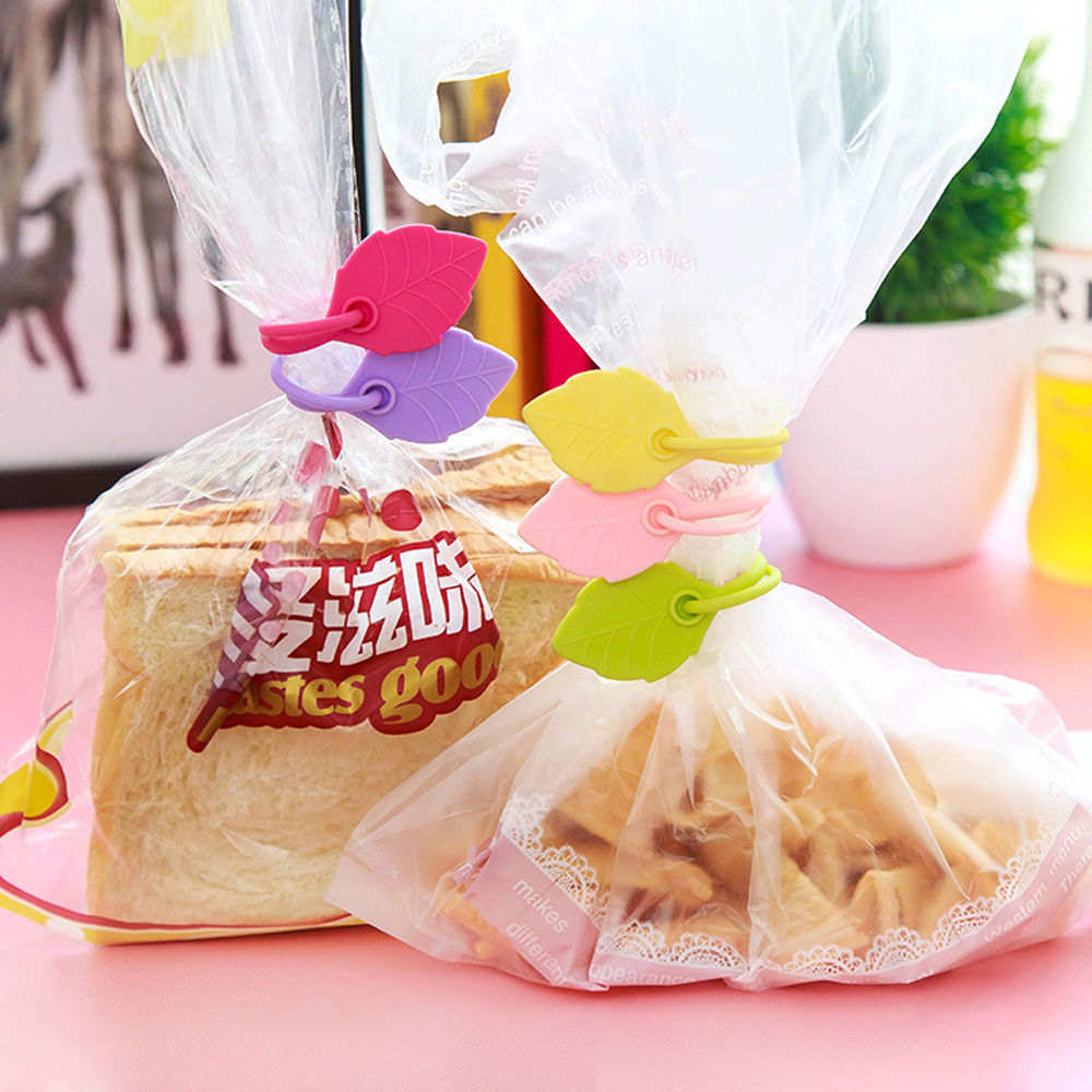 Organization Home Snack Ties Food Storage Leave Shape Silicone Sealing Bag Clip