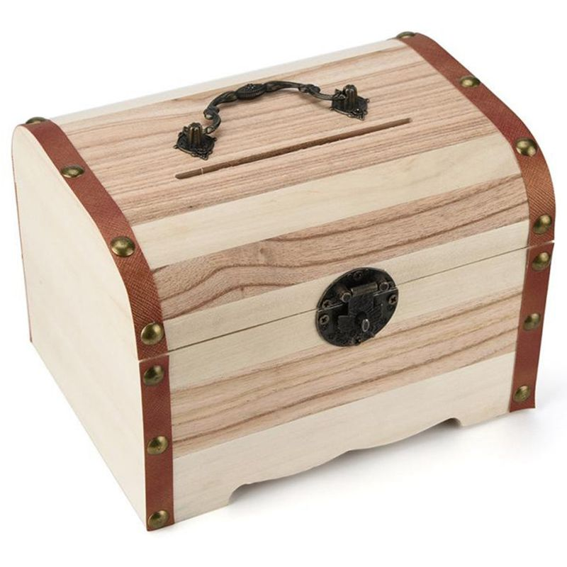 1PC Wooden Piggy Bank Safe Money Box Savings With Lock Wood Carving Handmade Coin Storage Box High Quality