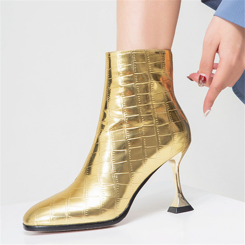 Image 5 - FEDONAS Fashion Women High Heels Ankle Boots Gold Silver Autumn Winter Party Wedding Prom Shoes Woman Sexy Pumps Female Boots-in Ankle Boots from Shoes