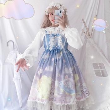 Lolita Dress Sweet Cute Japanese Kawaii Girls Princess Maid Vintage Gothic Printed Patterns Lace Pink Summer Skirt Women's Clothing & Accessories cb5feb1b7314637725a2e7: only shirt|Sleeveless Black|Sleeveless DeepBlue|Sleeveless dress|Sleeveless Winered