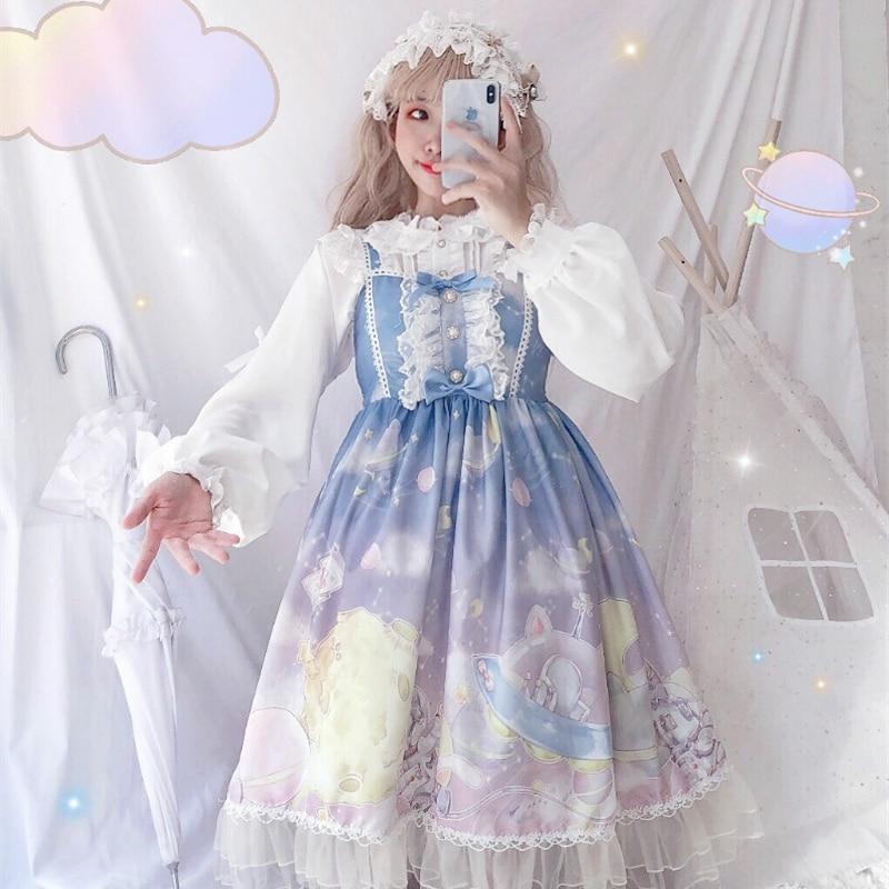 Japanese sweet lolita Lindo arco estampado de Conejo op corto manga larga vestido de princesa