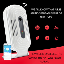 Portátil wi fi inteligente casa profissional smog co2 medidor hcho tvoc qualidade do ar monitor testador sensor de temperatura co2