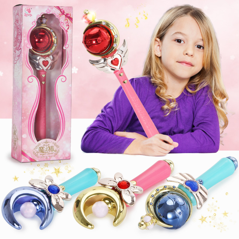 Girl Magic Wand Play Toy Magic Illuminate Cane Educational Cosplay Toy Fairy Glow Stick For Children Cosplay Toys