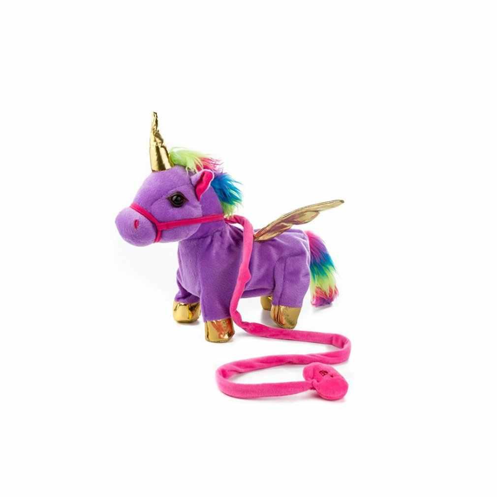35 см электрическая ходьба Единорог чучело Плюшевые игрушки электронная музыка Единорог кукла игрушка для детей рождественские подарки