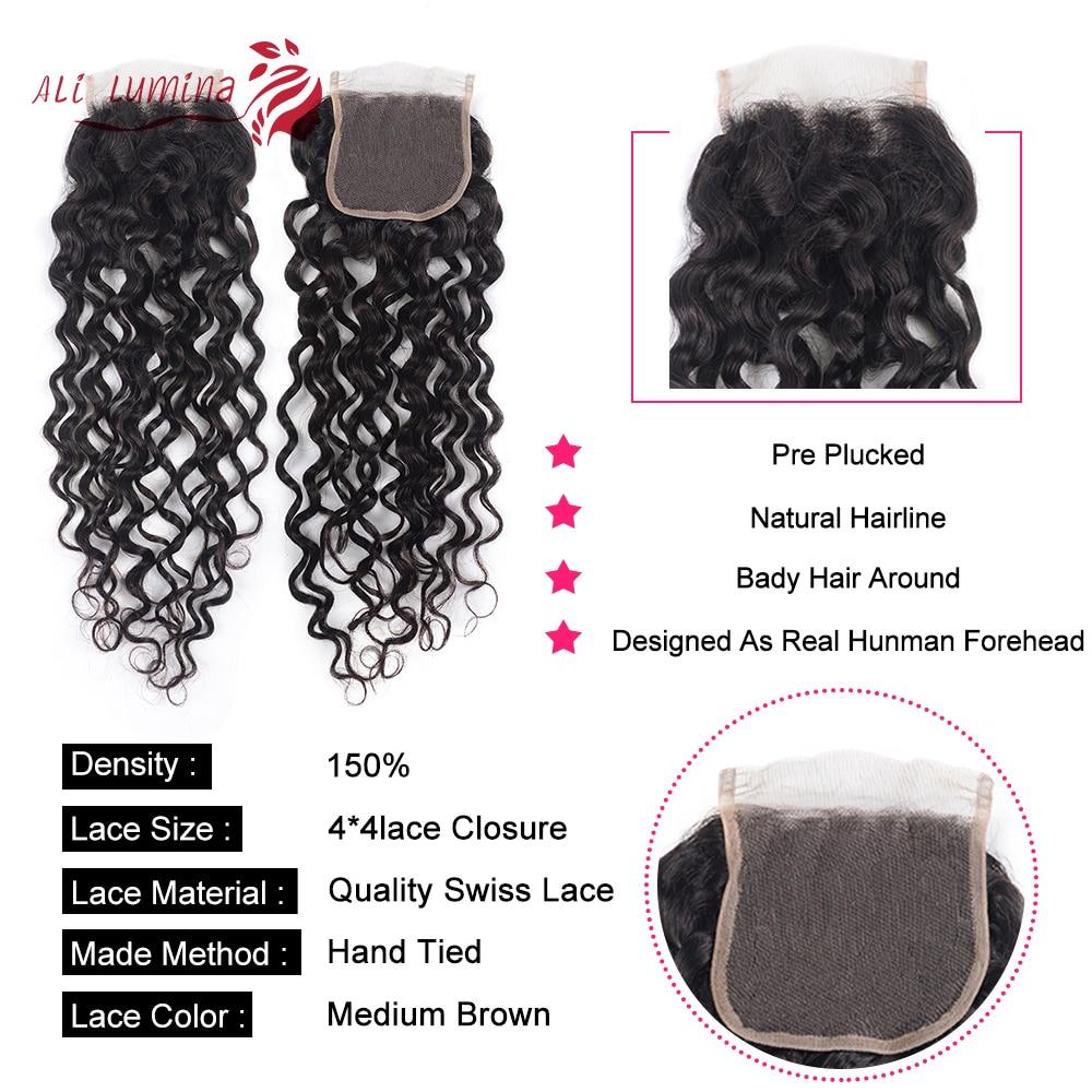 4x4 Lace Closure 100%  Closure Sample     Hair Water Wave Frontal 8 Inches Short Hair 5