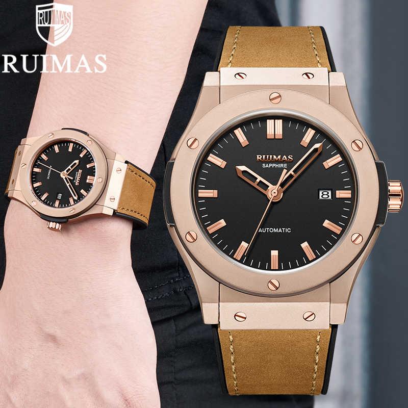 Ruimas Pria Jam Tangan Atas Merek Kulit Luxury Otomatis Mekanis Mewah Pria Olahraga Jam Tangan Pria Reloj Hombre