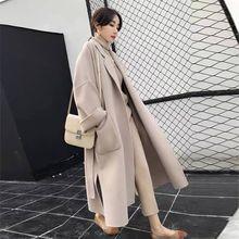 Elegant Long Coat Winter Women Belted Solid Womens Jacket CHUQING High Quality Korean Black wool