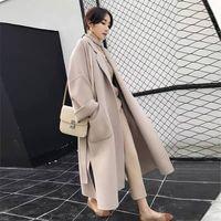Elegant Long Coat Winter Coat Women Belted Solid Coat Women's Jacket CHUQING High Quality Korean Women's Black Coat wool Coat