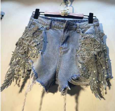 Streetwear Shorts Hot Pants Women Lady Summer New Heavy Bead Sequin Stereo Flowers High Waist Skinny Holes Denim Shorts Female