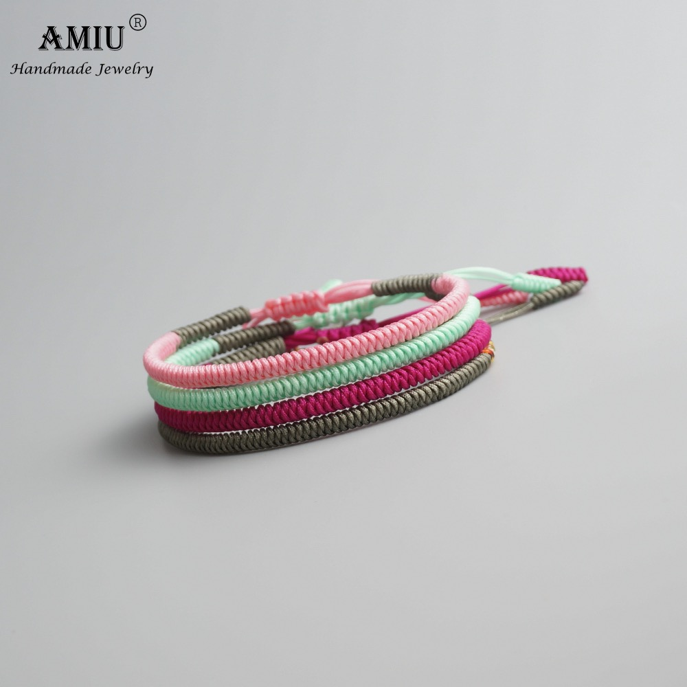 AMIU 4PCS Tibetan Buddhist Good Lucky Charm Tibet Bracelets & Bangles For Women And Men Handmade Color Knots Rope Bracelet