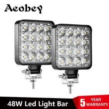 Aeobey lumière Led barre 48w 16barra Led lumière de voiture pour 4x4 barre de Led Offroad SUV ATV tracteur bateau camions pelle 12V 24V lumière de travail