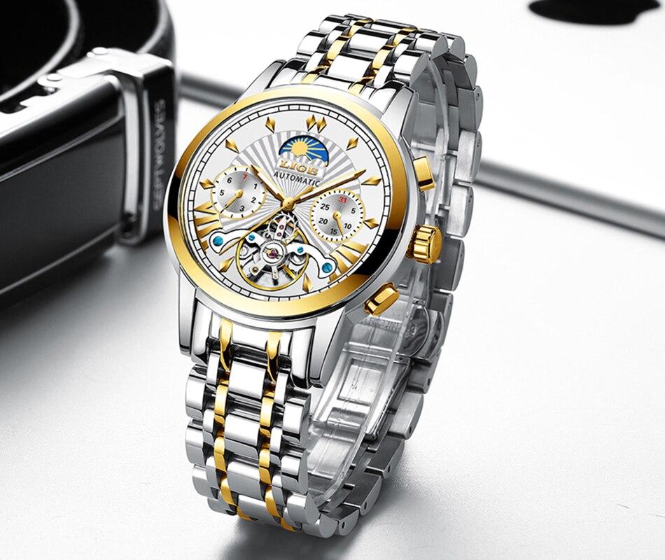 LIGE Clássico Mens Relógios Top Marca de