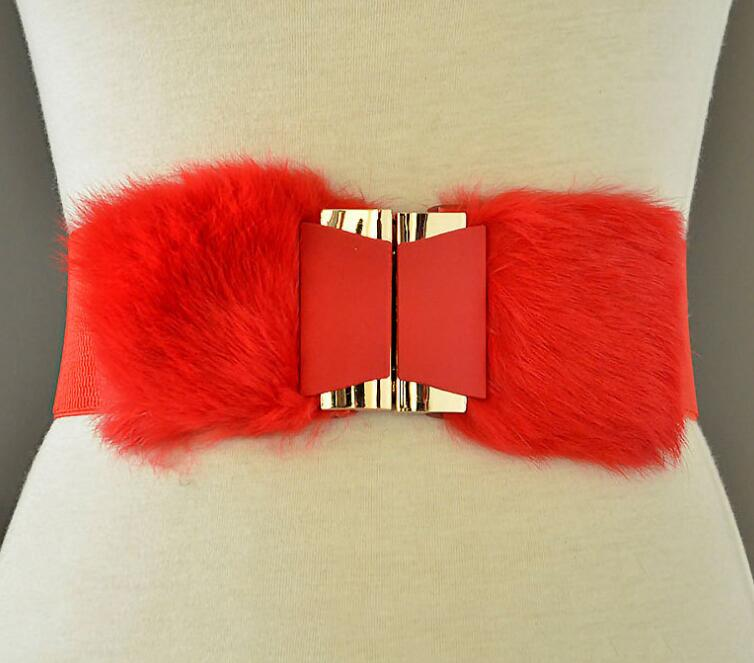 Women's Runway Fashion Faux Fur Elastic Cummerbunds Female Dress Corsets Waistband Belts Decoration Wide Belt R2236