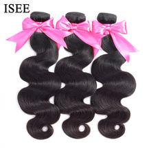ISEE – Mèche de cheveux humains péruviens, épais, ondulés,100% Remy, extensions avec tissage, de couleur naturelle, achat de 1/3/4 lots