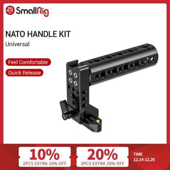 smallrig dslr camera rig mounting plate for dji ronin s with quick release nato rail 1 4 thread holes arri 3 8 holes 2214 SmallRig Cheese Handle Nato Handle With 70mm Nato Rail Cold Shoe 1/4 and 3/8 Thread Hole for DSLR Camera Cage Grip Handle-2003