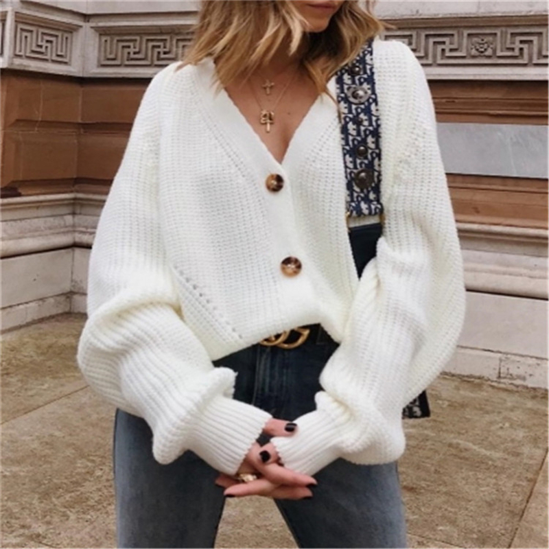 BKMGC  Elegant Women Cardigans  Knitted Sweaters Coat Long Sleeve Loose Casual V-Neck Black White  Autumn Winter Short Clothes