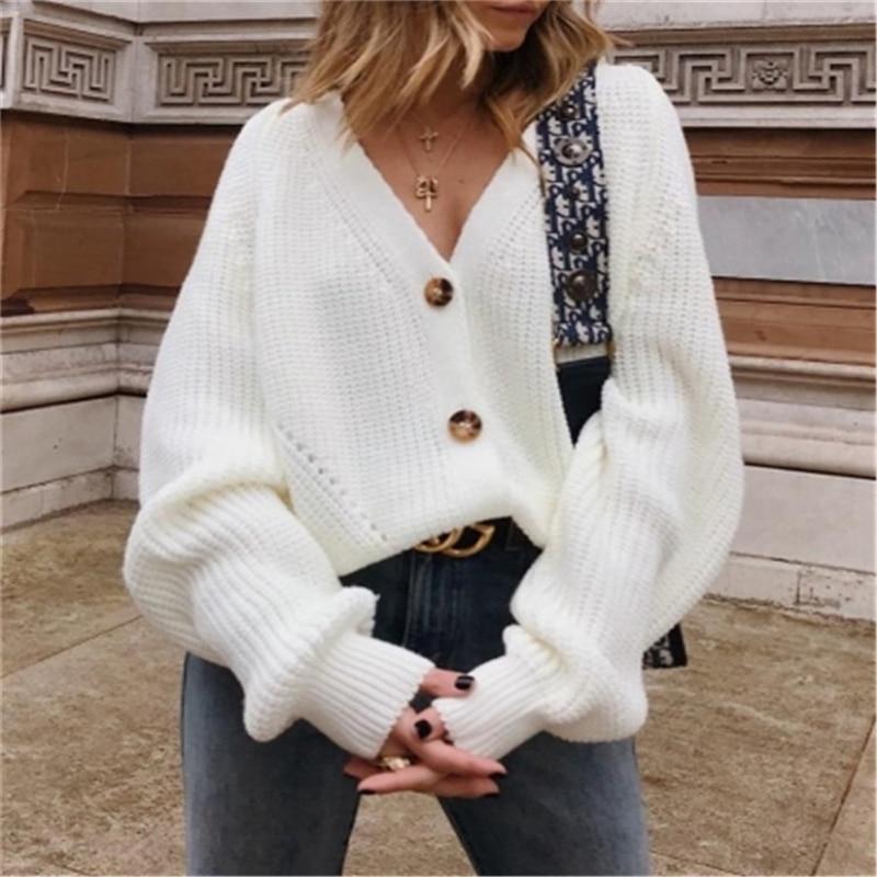 BKMGC  Elegant Women Cardigans  Knitted Sweaters Coat Long Sleeve Loose Casual V-Neck Black White  Autumn Winter Short Clothes