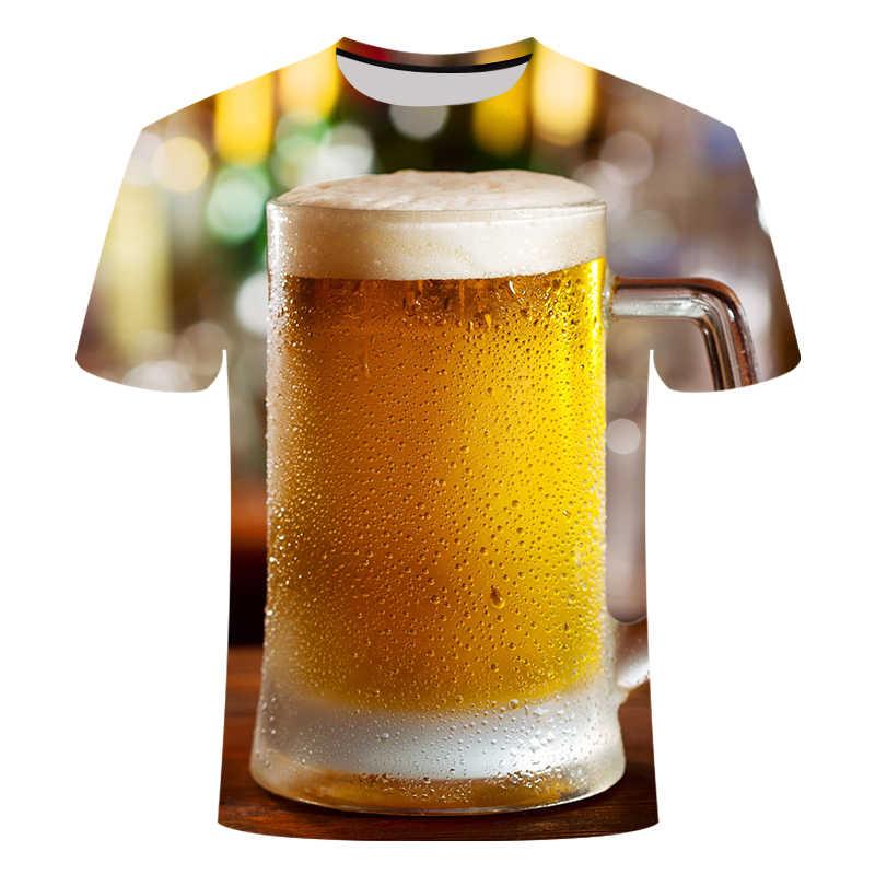 Sommer Männer T-shirt 3D Bier Zeit Kurzarm Neuheit Wasser Muster Oansatz Tops Tees Lustige 3D Gedruckt Streetwear T-shirt